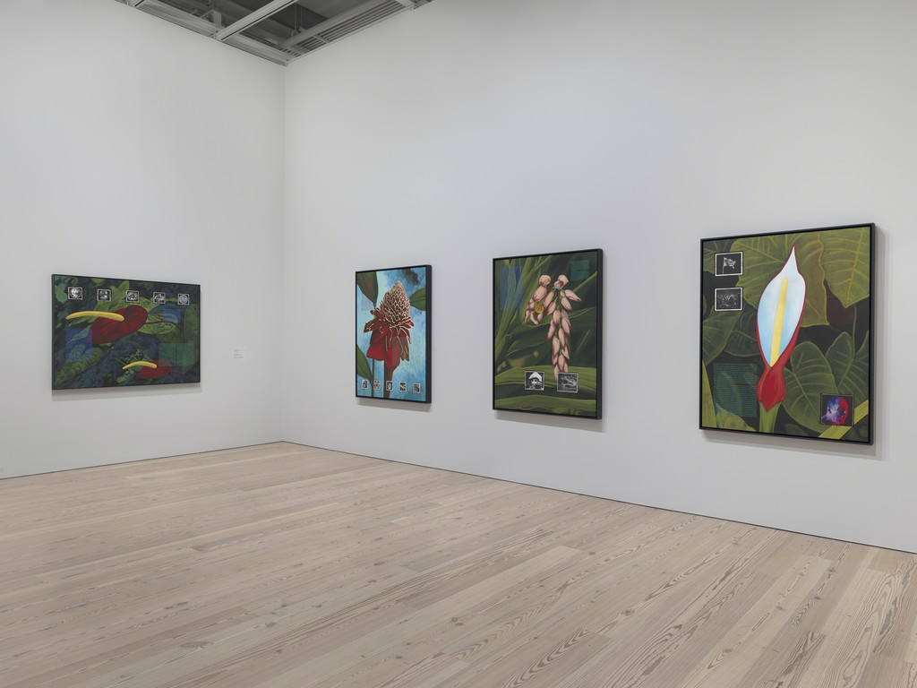 Installation view of David Wojnarowicz: History Keeps Me Awake at Night (Whitney Museum of American Art, New York, July 13-September 30, 2018). From left to right: He Kept Following Me, 1990; I Feel A Vague Nausea, 1990; Americans Can't Deal with Death, 1990; We Are Born into a Preinvented Existence, 1990. Photograph by Ron Amstutz