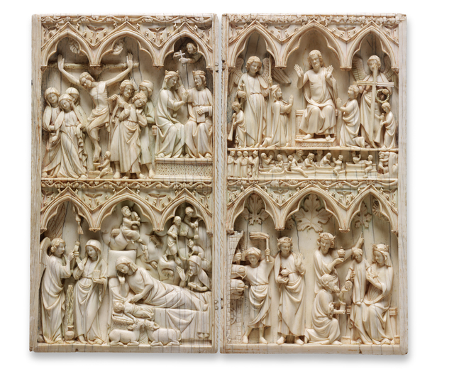 French, Île de France, 'Diptych with scenes of the Nativity,  the Crucifixion, and the Last Judgment', 1275-1325, RISD Museum