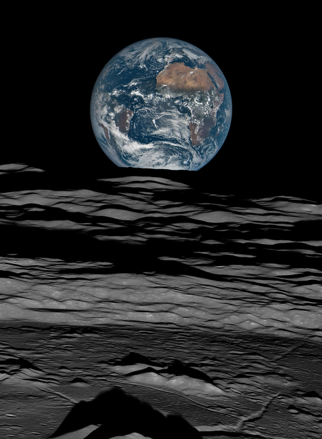 , 'Earth over the Lunar Horizon, Lunar Reconnaissance Orbiter, 12 October, 2015,' 2016, Flowers