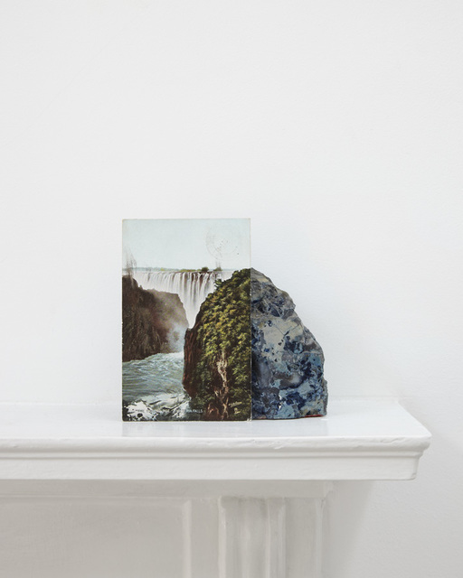 , 'A postcard of Victoria Falls. A geological sample from John Latham's mantlepiece,' 2012, Division of Labour