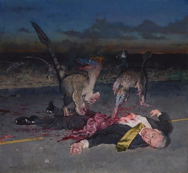 John Brosio, 'Dinosaurs Eating a CEO ', 2013, Painting, Oil On Canvas, ARCADIA CONTEMPORARY