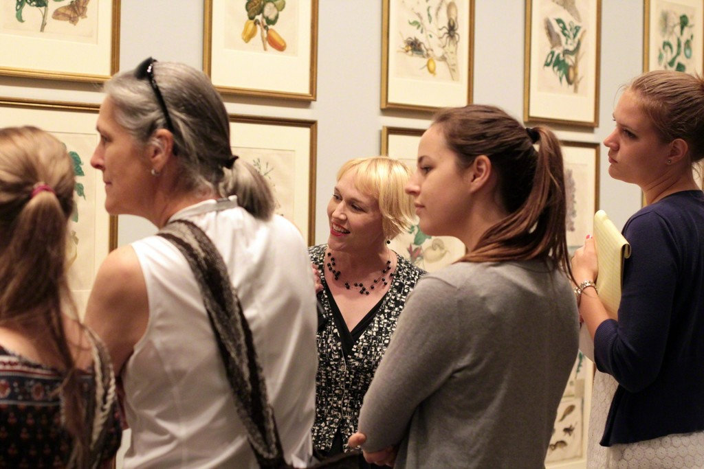 "Gallery talk in front of Maria Sibylla Merian's selections from ""Dissertation in Insect Generations and Metamorphoses in Surinam,"" second edition, 1719; Photography by Laura Hoffman"