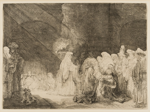 Rembrandt van Rijn, 'The Presentation in the Temple: Oblong Plate', circa 1639, Print, Etching, drypoint and engraving, Forum Auctions
