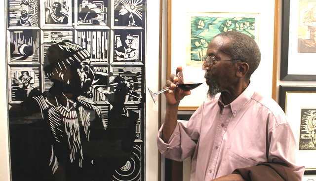 , 'Photo of Peter striking a pose to mirror his tribute portrait by Zolani Siphungela,' 2013, Luvey 'n Rose