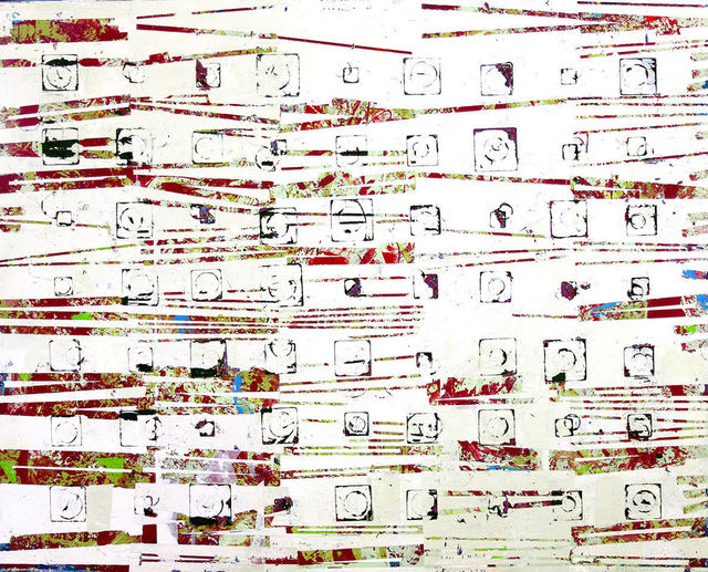 """Jylian Gustlin, '""""Entropy 39"""" Abstract mixed media painting with red, white and light green', 2019, Eisenhauer Gallery"""