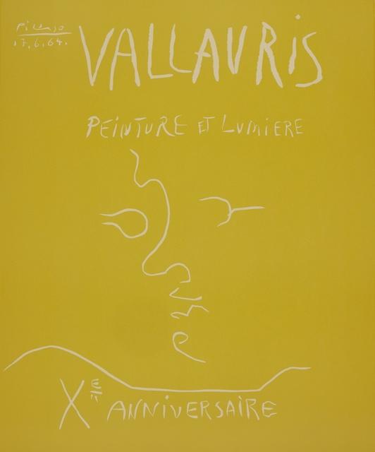 Pablo Picasso, 'Vallauris. Peinture et Lumière. Xe Anniversaire (B. 1850; Ba. 1353)', 1964, Print, Linoleum cut printed in yellow, Sotheby's