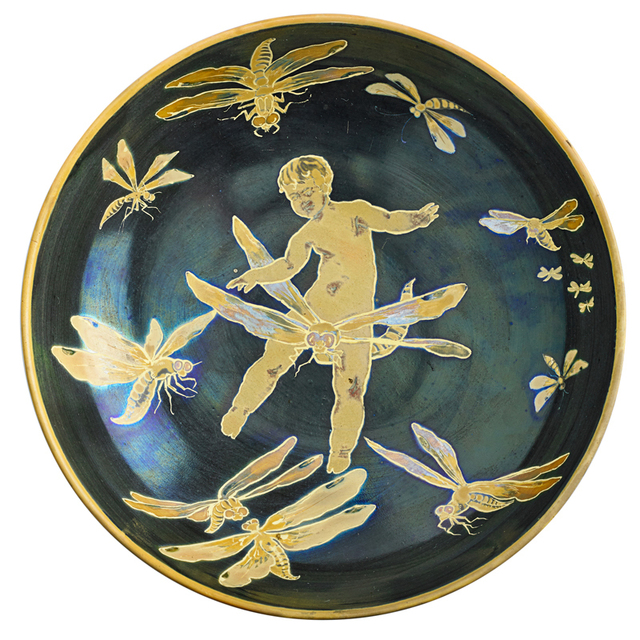 Zsolnay, Pècs Factory, 'Bowl With Putto And Dragonflies, Pecs, Hungary', ca. 1900, Rago/Wright