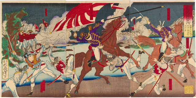 , 'Chronicle of the Conquest of Kagoshima: Officer Nozu Retrieves the National Flag During a Battle at the Mouth of the Takase River,' 1877, Scholten Japanese Art