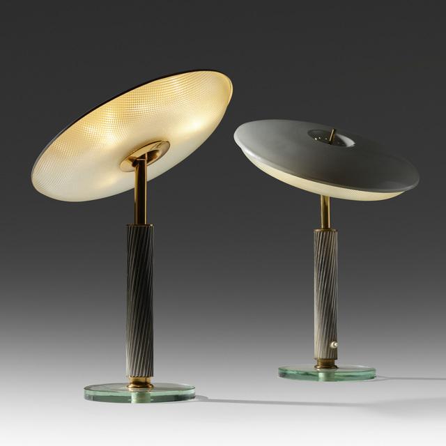 Pietro Chiesa, 'table lamps, pair', c. 1940, Design/Decorative Art, Crystal, aluminum, brass, cut glass, enameled aluminum, Rago/Wright