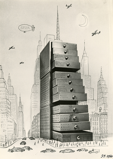 Saul Steinberg, 'Chest of Drawers Cityscape', 1950, Pace/MacGill Gallery
