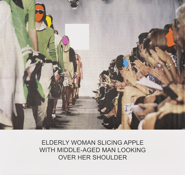 , 'The News: Elderly Woman Slicing Apple with Middle-Aged Man Looking Over Her Shoulder,' 2014, Galería La Caja Negra
