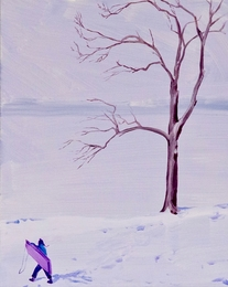 Purple Sled and Lakeside Tree