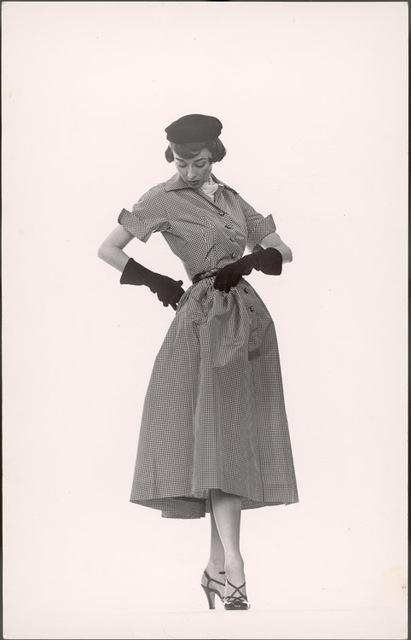 Gjon Mili, 'Model Dorian Leigh Wearing Pin-Point Taffeta Dress with Full Skirt by Mollie  Parnis. Long Black Gloves', 1950, Contessa Gallery