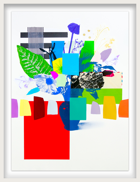 Emily Filler, 'Paper Bouquet (green leaf + stripes)', 2021, Drawing, Collage or other Work on Paper, Mixed Media on Paper, Newzones
