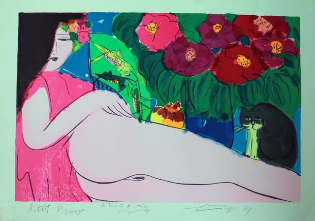Walasse Ting 丁雄泉, 'Dame au Chat Noir', 1987, Art Works Paris Seoul Gallery