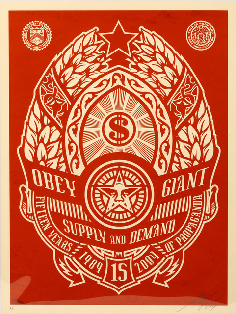 Shepard Fairey (OBEY), 'Supply And Demand (Red)', 2004, Chiswick Auctions