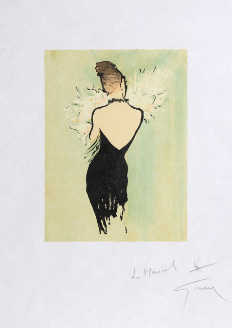 René Gruau, 'Woman in Black Dress with Flowers', ca. 1990, RoGallery