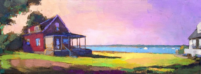 ", '""St. Andrews Panorama"" oil painting of a red house on the water with a pink and purple sunset,' 2018, Eisenhauer Gallery"