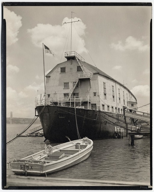 , 'U.S.S. Illinois and Launch: Armory for Naval Reserves.  (West 135th Street Pier.),' 1937, The Old Print Shop, Inc.