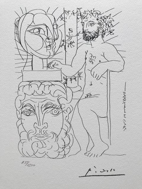 Pablo Picasso, 'Sculpteur et son autoportrait sculpté servant de socle à une tête de Marie-Thérèse (Suite Vollard Planche XLVIII)', 1973, ByNewArt