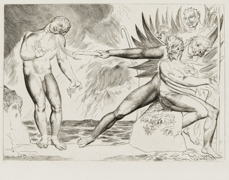 Seized on his Arm And Mangled Bore away the Sinewy Part (The Demons Tormenting Ciampolo), plate 2 from Illustrations to Dante's Divine Comedy