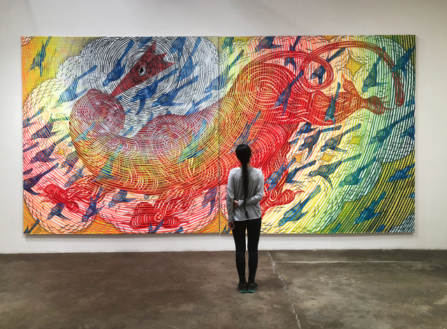 , 'Floating Red Beast with Blue Birds ,' 2018, DENK Gallery