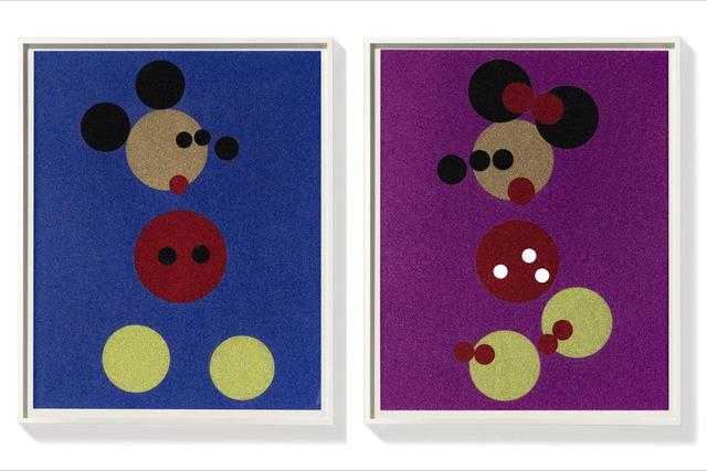 , 'Mickey (Blue Glitter) & Minnie (Pink Glitter) ,' 2016, Fine Art Mia