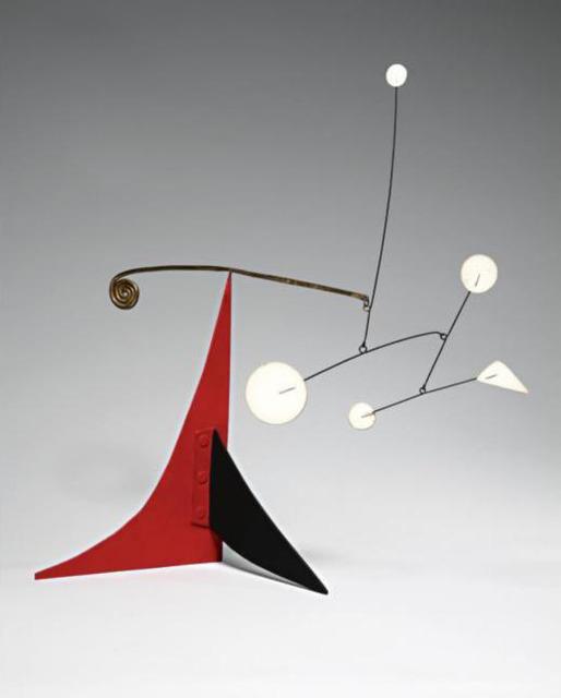 Alexander Calder, 'Untitled (Five White and Brass Spiral on Red and Black)', ca. 1960, Joseph K. Levene Fine Art, Ltd.