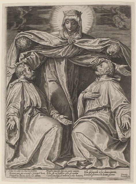 Agostino Carracci, 'The Madonna Protecting Two Members of a Confraternity', 1582, Print, Engraving on laid paper, National Gallery of Art, Washington, D.C.