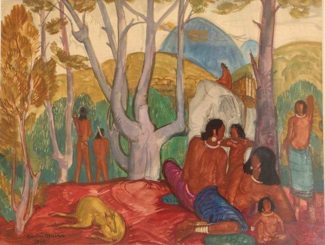 """André Maire, '""""Aprés-Midi Chez Les Moïs,"""" Watercolor, by André Maire', ca. 1949, Painting, Watercolor, paper, Avant-Garde Gallery"""