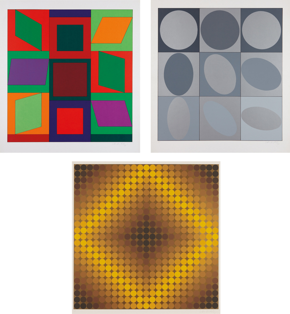 Victor Vasarely, 'Lapidaire: two prints; and Diaf: one print', 1968, Phillips