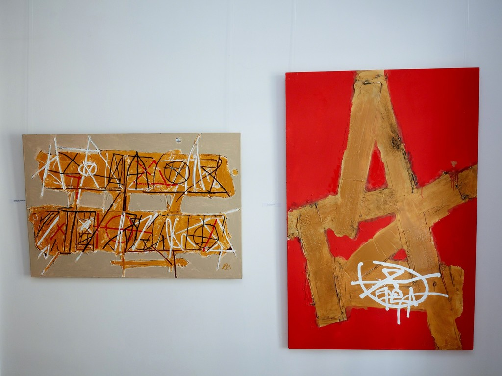 """TERESA'S NOTES"" (2015) 120,5 x 80cm and ""CAPITAL A"" (2017) 100 x 150cm  by Miroslav Cipár, acrylic on wood, photo credit: Bellart Gallery"