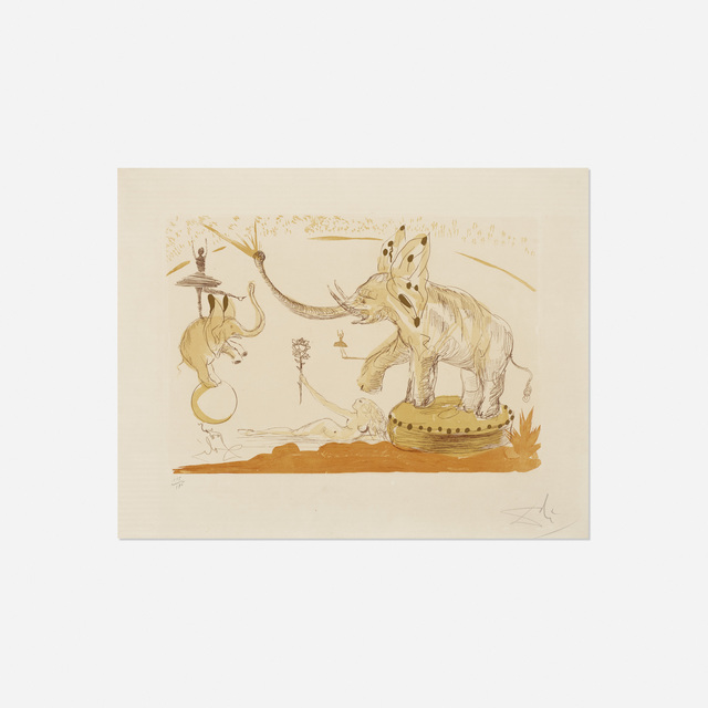 Salvador Dalí, 'Elephants from Le Cirque', 1965, Print, Color etching and aquatint with gilding, Rago/Wright