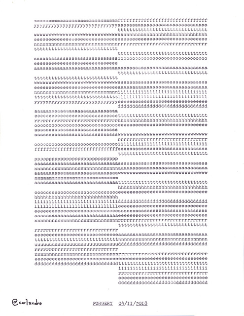 """, '""""Forgery"""" in the series """"Typewriter Drawings"""",' 2018, Catharine Clark Gallery"""