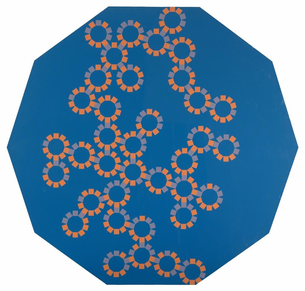 Decagons on blue