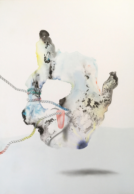 Benedikt Hipp, 'Ocean's Crust (Baddeleyit)', 2019, Drawing, Collage or other Work on Paper, Indian ink and crayon on paper, framed, Kadel Willborn