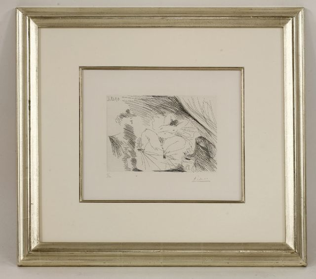 Pablo Picasso, 'Young Woman On A Bed, Procuress and Gentleman (Bloch 1802)', 1968, Print, Drypoint with etching, Sworders