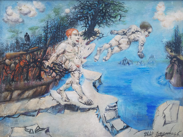 Philip Evergood, 'Lure of the Waters', 1946, Painting, Oil on canvas mounted on masonite, Caldwell Gallery Hudson