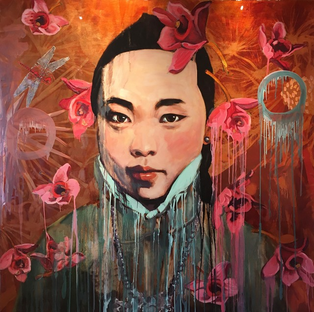 Hung Liu, 'Red Flower Rain', 2017, Turner Carroll Gallery