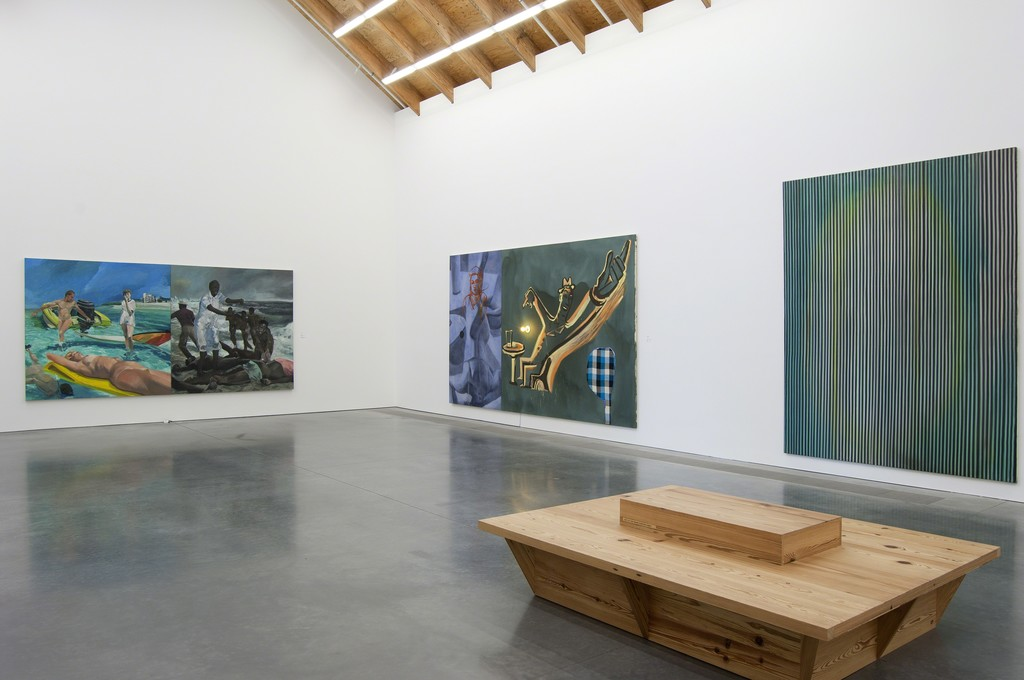Installation view of Unfinished Business. (From left to right) Eric Fischl, A Visit To/ A Visit From/ The Island, 1983, Whitney Museum of American Art, New York; Purchase, with funds from the Louis and Bessie Adler Foundation, Inc., Seymour M. Klein, President, 83.17a-b. David Salle, The Trucks Bring Things, 1984, Collection of Larry Gagosian. Ross Bleckner, The Forest, 1981, Collection of the artist. Photo: Gary Mamay