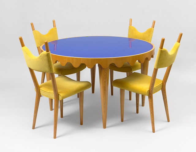 ", 'Set of ""Baltique"" chairs with ""Ondulation"" table,' ca. 1950, Galerie Jacques Lacoste"