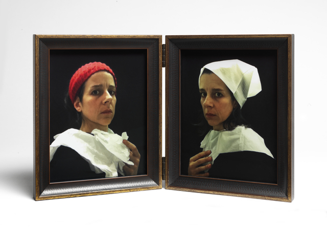 "Nina Katchadourian, 'Lavatory Self-Portraits in the Flemish Style #20-21 (""Seat Assignment"" project, 2010--ongoing)', 2015, Photography, C-print mounted in hinged frame, Catharine Clark Gallery"