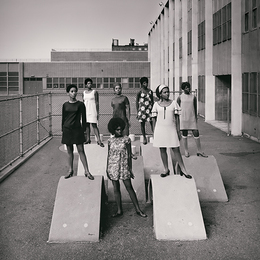 Untitled (Photo shoot at a school for one of the many modeling groups who had begun to embrace natural hairstyles in the 1960s)
