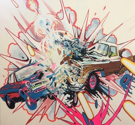 , 'Car & Truck Crashing with Random Cosmic Laser Beam,' 2018, THE WHITE ROOM GALLERY