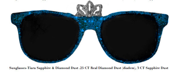 , 'Sunglasses-Tiara Sapphire & Diamond Dust .25 CT Real Diamond Dust (diadem), 3 CT Sapphire Dust,' , ART CAPSUL