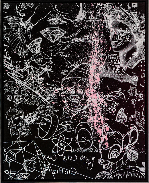 Joseph Klibansky, ' Sent Her Flowers (black, white, pastel pink splash)', 2019, HOFA Gallery (House of Fine Art)
