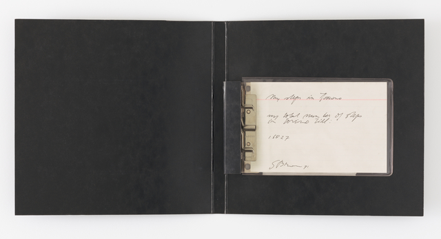 Stanley Brouwn, 'My steps in Torino - my total number of steps in Torino: 16,827', 1971, Drawing, Collage or other Work on Paper, Index card, ink, portfolio binder with metal hinges, and plastic sleeve, San Francisco Museum of Modern Art (SFMOMA)