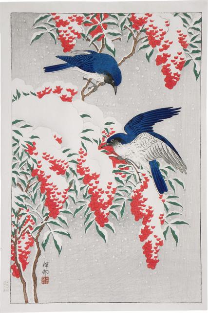 , 'Nanten Bush and Flycatchers in Snow,' ca. 1929, Scholten Japanese Art