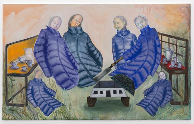 Anne Speier, 'Schwestern Fleiß', 2018, Painting, Oil, Acrylic and Screen Print on Canvas, Galerie Meyer Kainer