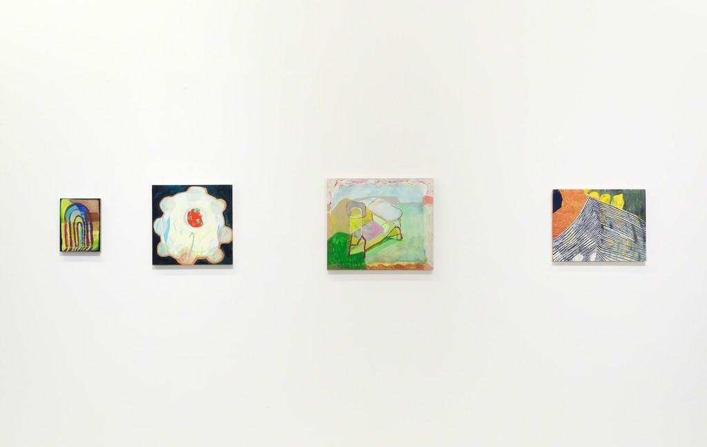 Four paintings by Catherine Haggarty in WE LOST OUR TAILS.